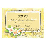 Vintage white plumeria ivy on yellow RSVP card Personalized Announcements
