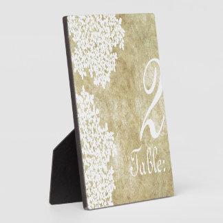 Vintage White Queen Annes Lace Table Number Plaque