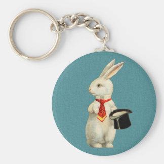 Vintage White Rabbit Basic Round Button Keychain