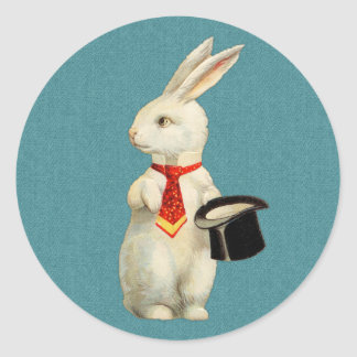 Vintage White Rabbit Classic Round Sticker