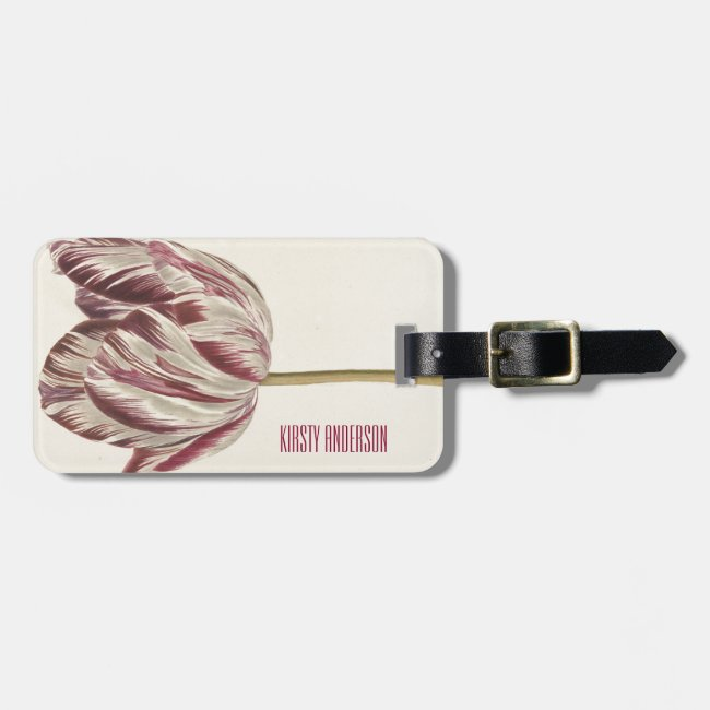 Vintage white & red tulip Personalized luggage tag