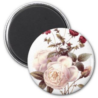 Vintage White Rose Bouquet Magnet
