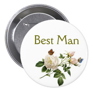 vintage white rose flowers best man pinback button
