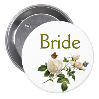 vintage white rose flowers bride or groom button