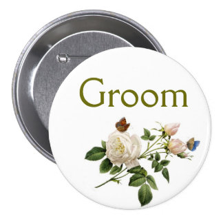vintage white rose flowers bride or groom pinback button