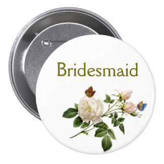 vintage white rose flowers bridesmaid pinback button