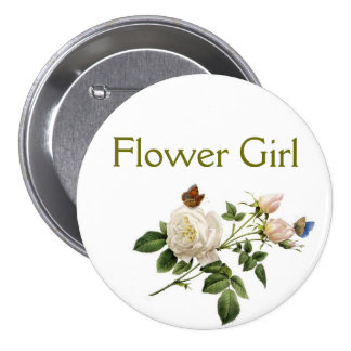 vintage white rose flowers flower girl button