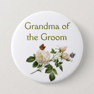 vintage white rose flowers grandma of the groom pinback button