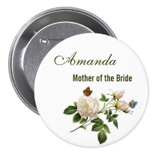 vintage white rose flowers mother of the bride button
