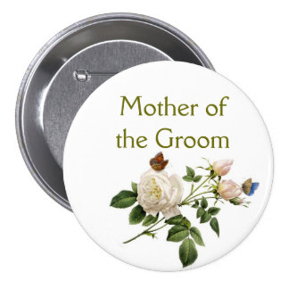 vintage white rose flowers mother of the groom button