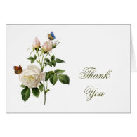 Vintage white rose flowers thank you greeting cards