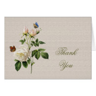 Vintage white rose flowers thank you cards