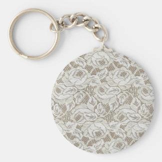 Vintage White Rose Lace Basic Round Button Keychain