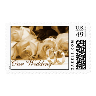 Vintage White Rose Rings Wedding Invitation Stamp
