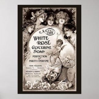 Vintage White Rose Soap Advertisement Poster