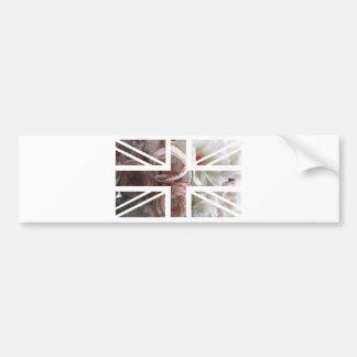 Vintage White Rose Union Jack British(UK) Flag Bumper Sticker