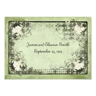 "Vintage White Roses 4.5"" X 6.25"" Invitation Card"