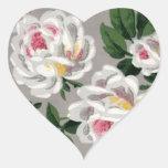 Vintage White Roses on Gray - Sticker