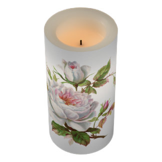 Vintage White Roses Pink Blush Wedding Floral Buds Flameless Candle
