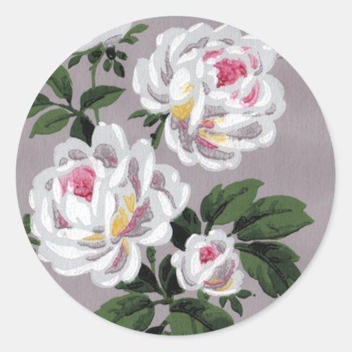 Vintage White Roses Sticker Round Sticker