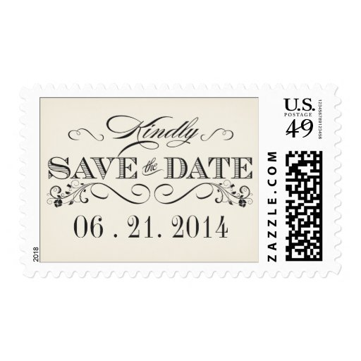 Vintage White Save the Date Wedding Postage