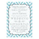 Vintage White & Sky Blue Chevron Stripes Wedding Invite