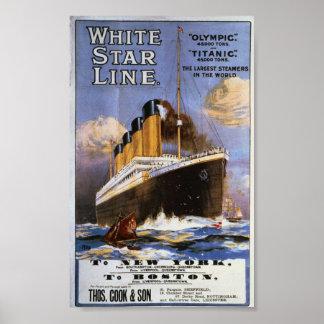 Vintage White Star Line Travel Poster