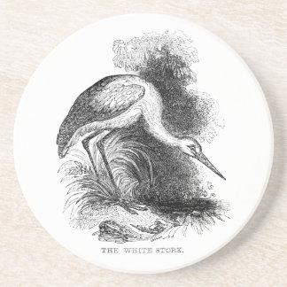 Vintage White Stork Drink Coaster