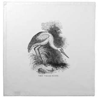 Vintage White Stork Napkin