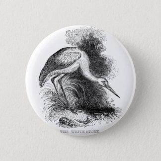 Vintage White Stork Pen and Ink Artwork Pinback Button