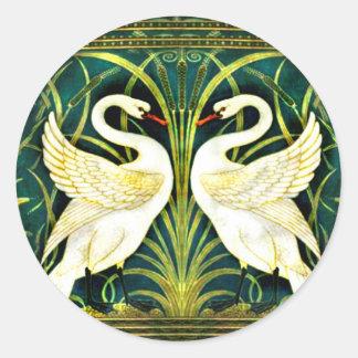 Vintage White Swan Design Classic Round Sticker
