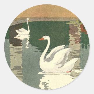 Vintage White Swans Classic Round Sticker