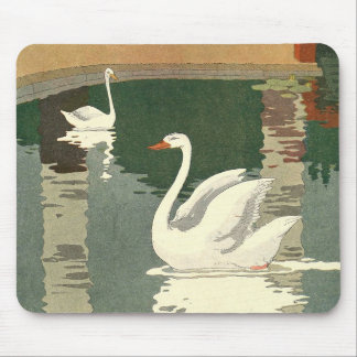 Vintage White Swans Mouse Pad