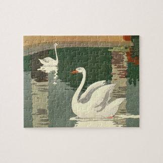 Vintage White Swans Puzzle