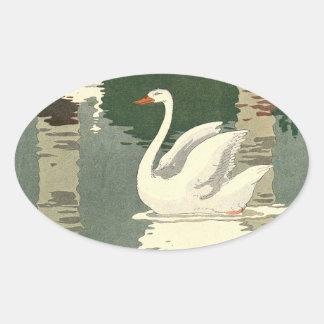 Vintage White Swans Oval Sticker