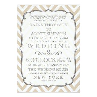 Vintage White Tan Neutral Chevron Stripes Wedding Card