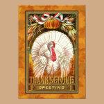 Vintage White Thanksgiving Turkey Invitation