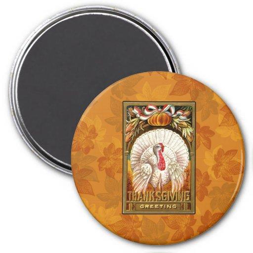 Vintage White Thanksgiving Turkey Fridge Magnets