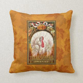 Vintage White Thanksgiving Turkey Throw Pillow