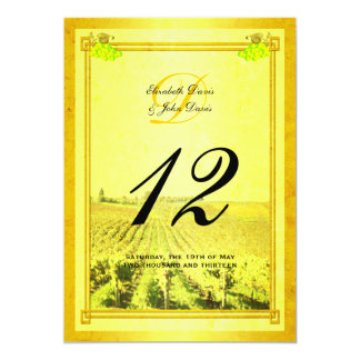 Vintage White Wine Vineyard Table Number Cards Announcements
