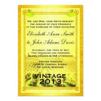Vintage White Wine Vineyard Wedding Invitation