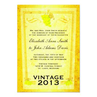 Vintage White Wine Wedding Invitation