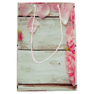 vintage white wood wall pink roses, shabby chic medium gift bag