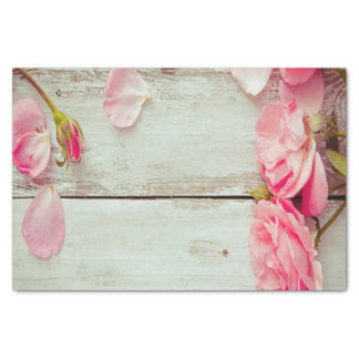 """vintage white wood wall pink roses, shabby chic 10"""" x 15"""" tissue paper"""