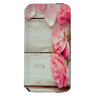 vintage white wood wall pink roses, shabby chic iPhone 6/6s wallet case