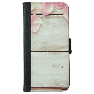 vintage white wood wall pink roses, shabby chic wallet phone case for iPhone 6/6s