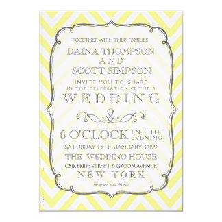 Vintage White & Yellow Chevron Stripes Wedding Card