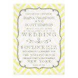 Vintage White & Yellow Chevron Stripes Wedding Invite