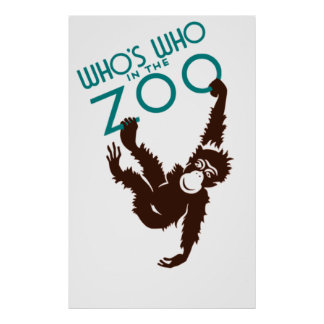 Vintage Whos Who in the Zoo Monkey Poster