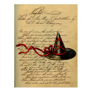 Vintage Wicca Chic Witch Hat Night Rhyme Postcard